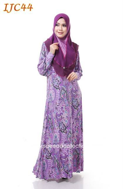 JUBAH LYCRA PRINTED PRINCESS CUT KEMBANG DAN LONGGAR GRIP SLEEVE PADDED SHOULDER KOD IJC44
