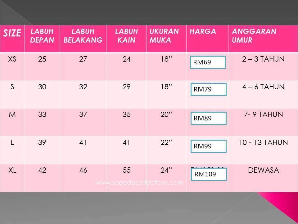 Panduan Ukuran Telekung Lycra Humaira bagi semua saiz dan harga jualan.