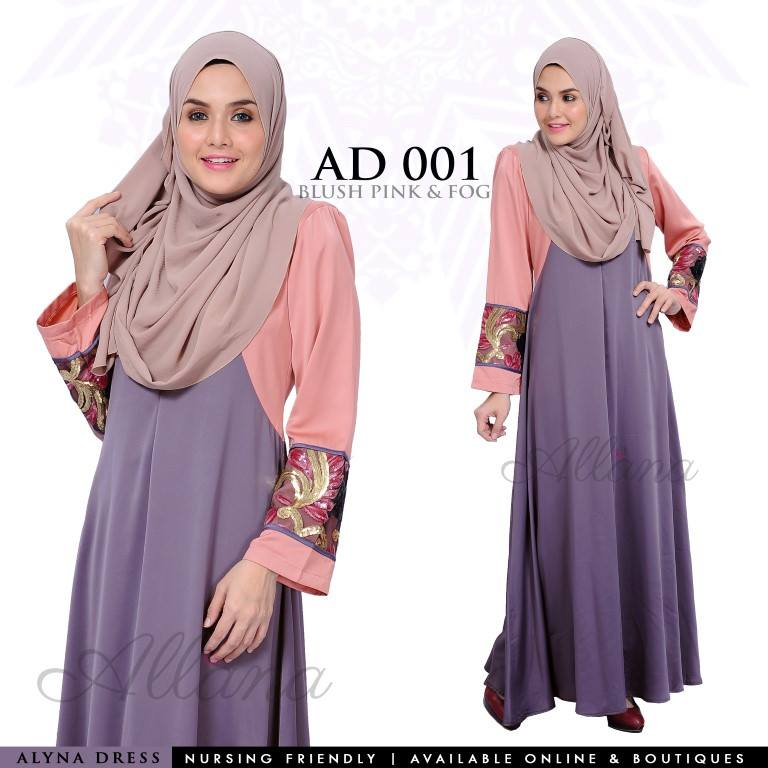 DRESS JUBAH SATIN ALYNA KOD AD001 AA