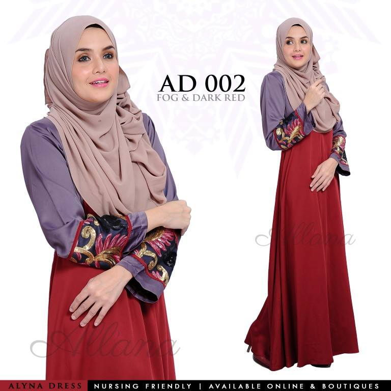 DRESS JUBAH SATIN ALYNA KOD AD002 AA