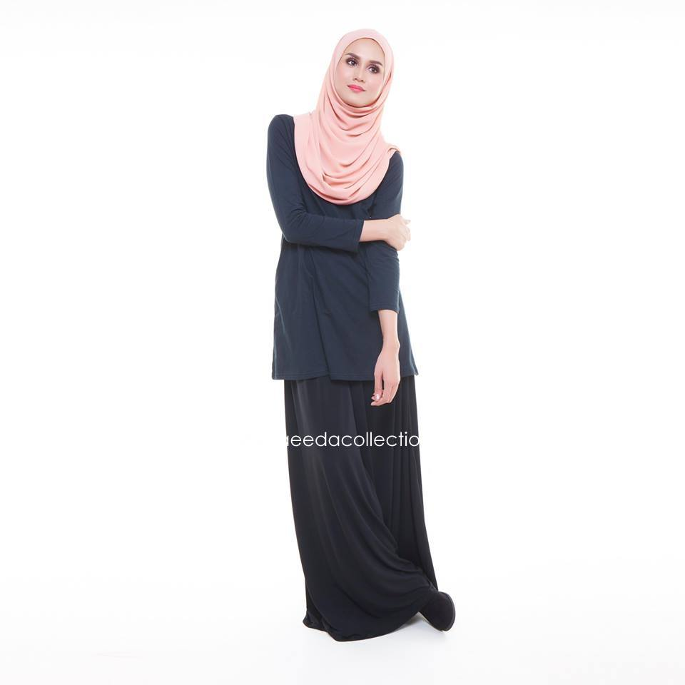 TSHIRT MUSLIMAH COTTON KOD BASIC PLAIN BLACK BE001B