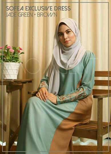 DRESS CREPE SOFEA JADE GREEN BROWN