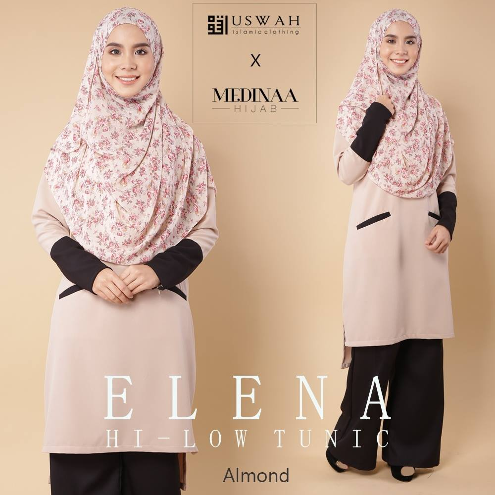 ELENA HI LOW TUNIC ALMOND