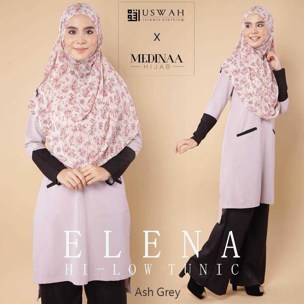 ELENA HI LOW TUNIC ASH GREY