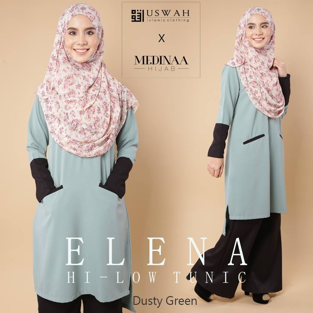 ELENA HI LOW TUNIC DUSTY GREEN