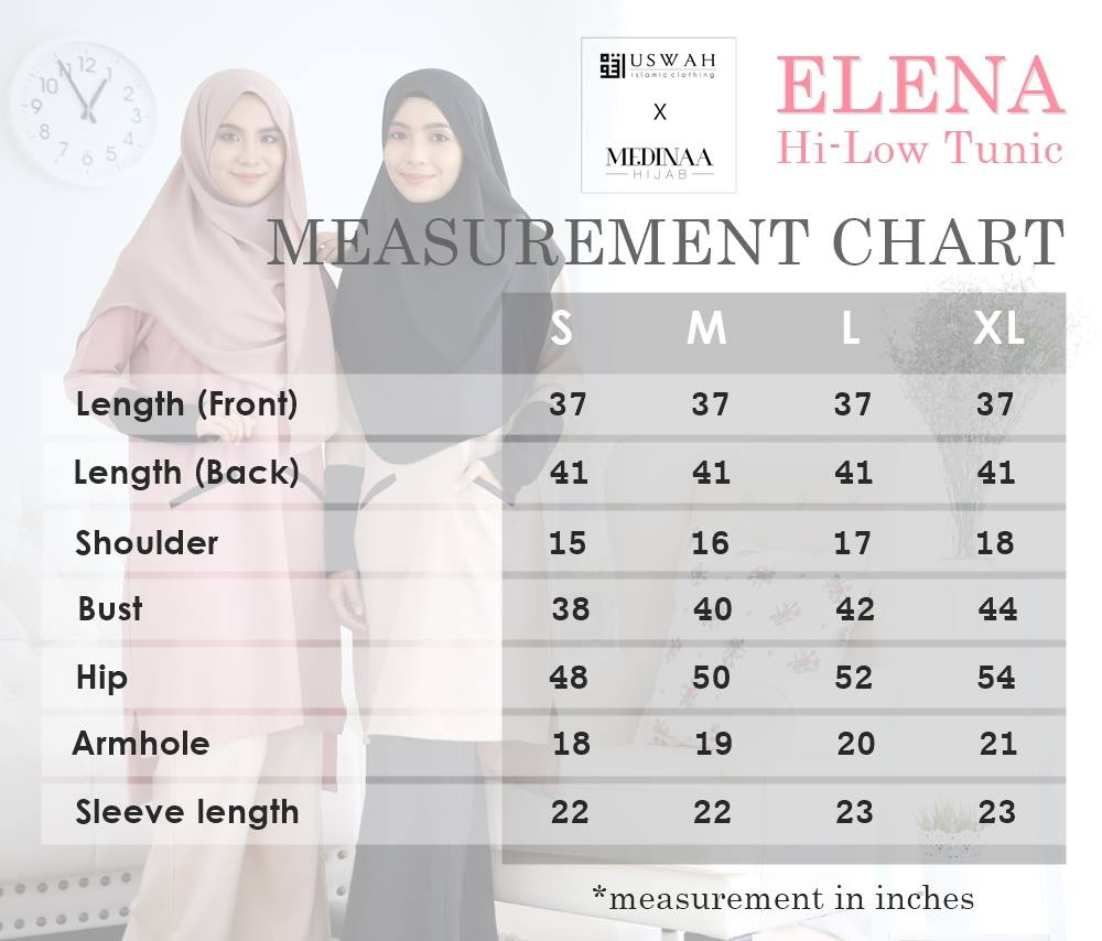 ELENA HI LOW TUNIC UKURAN