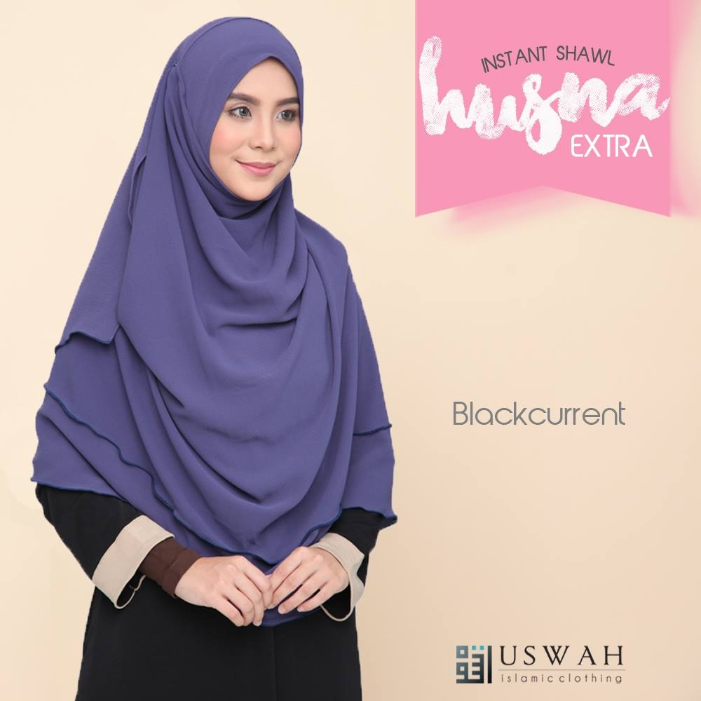 INSTANT SHAWL HUSNA EXTRA BLACK CURRENT
