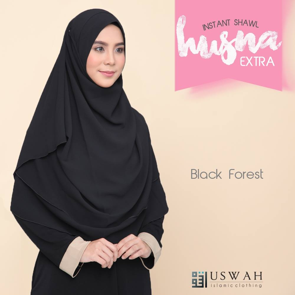 INSTANT SHAWL HUSNA EXTRA BLACK FOREST