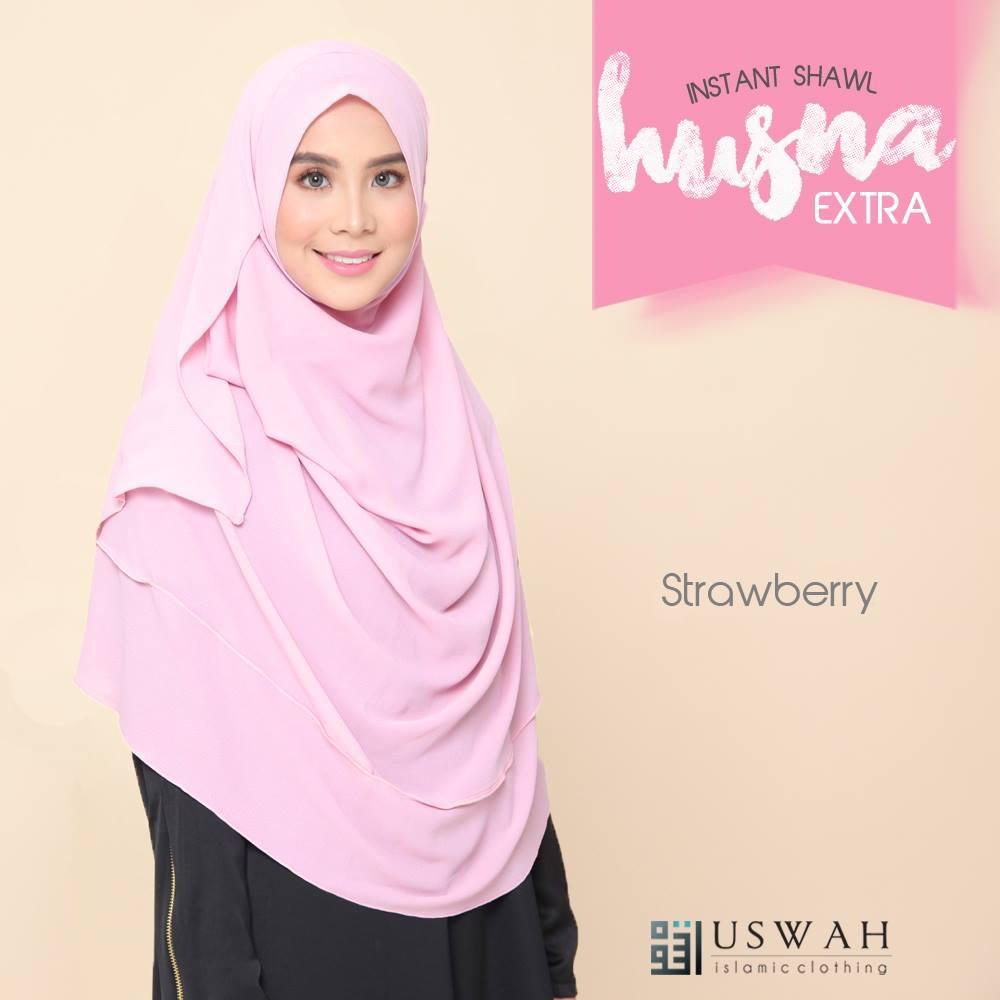 INSTANT SHAWL HUSNA EXTRA STRAWBERRY