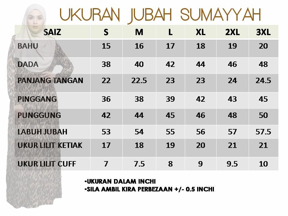 JUBAH LYCRA SUMAYYAH JS UKURAN
