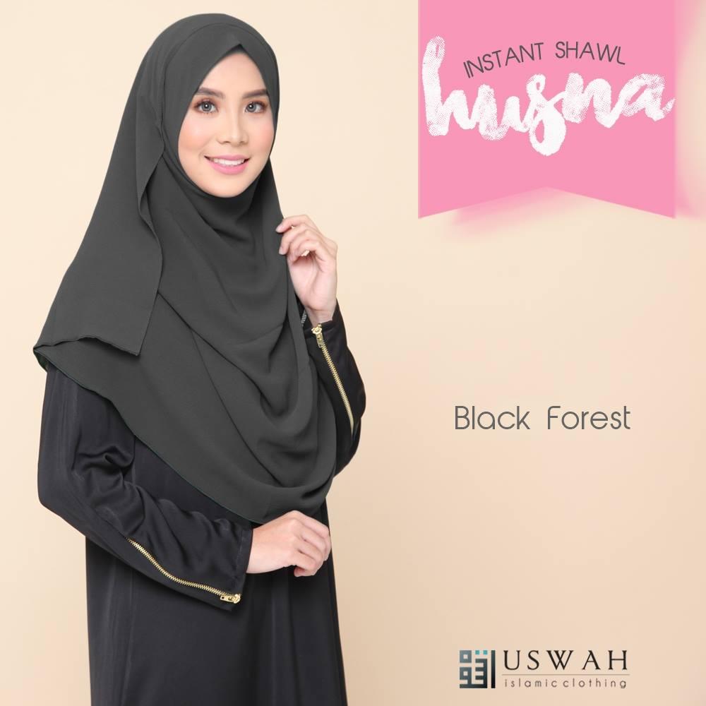 SHAWL HUSNA BIASA BLACK FOREST