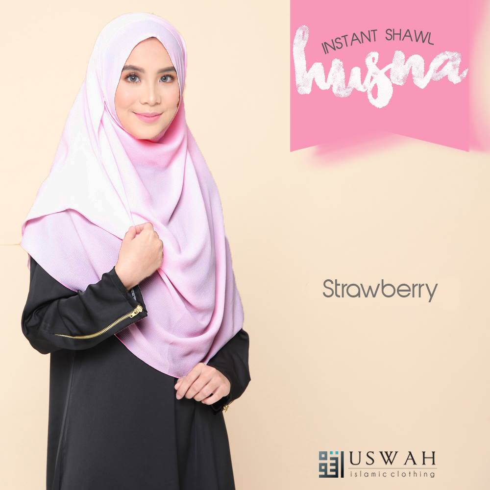 SHAWL HUSNA BIASA STRAWBERRY