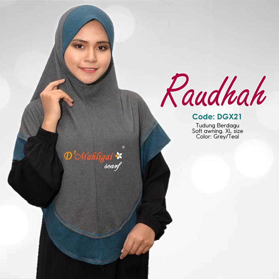 TUDUNG BERDAGU DENIM SAIZ XL RAUDAH RAUDHAH DGX21