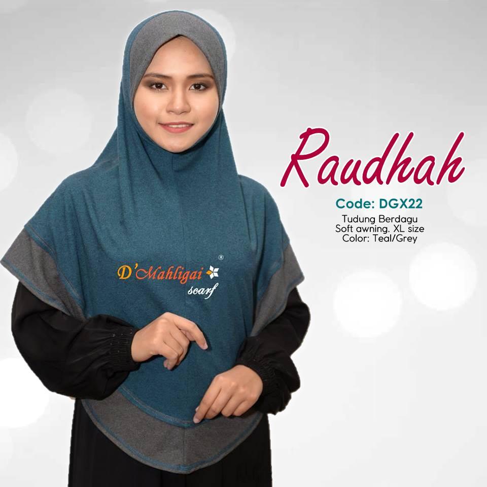 TUDUNG BERDAGU DENIM SAIZ XL RAUDAH RAUDHAH DGX22