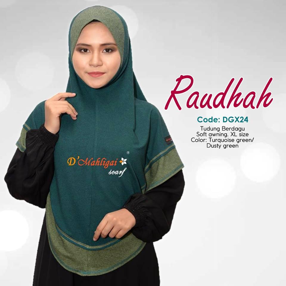 TUDUNG BERDAGU DENIM SAIZ XL RAUDAH RAUDHAH DGX24