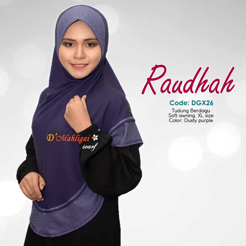 TUDUNG BERDAGU DENIM SAIZ XL RAUDAH RAUDHAH DGX26