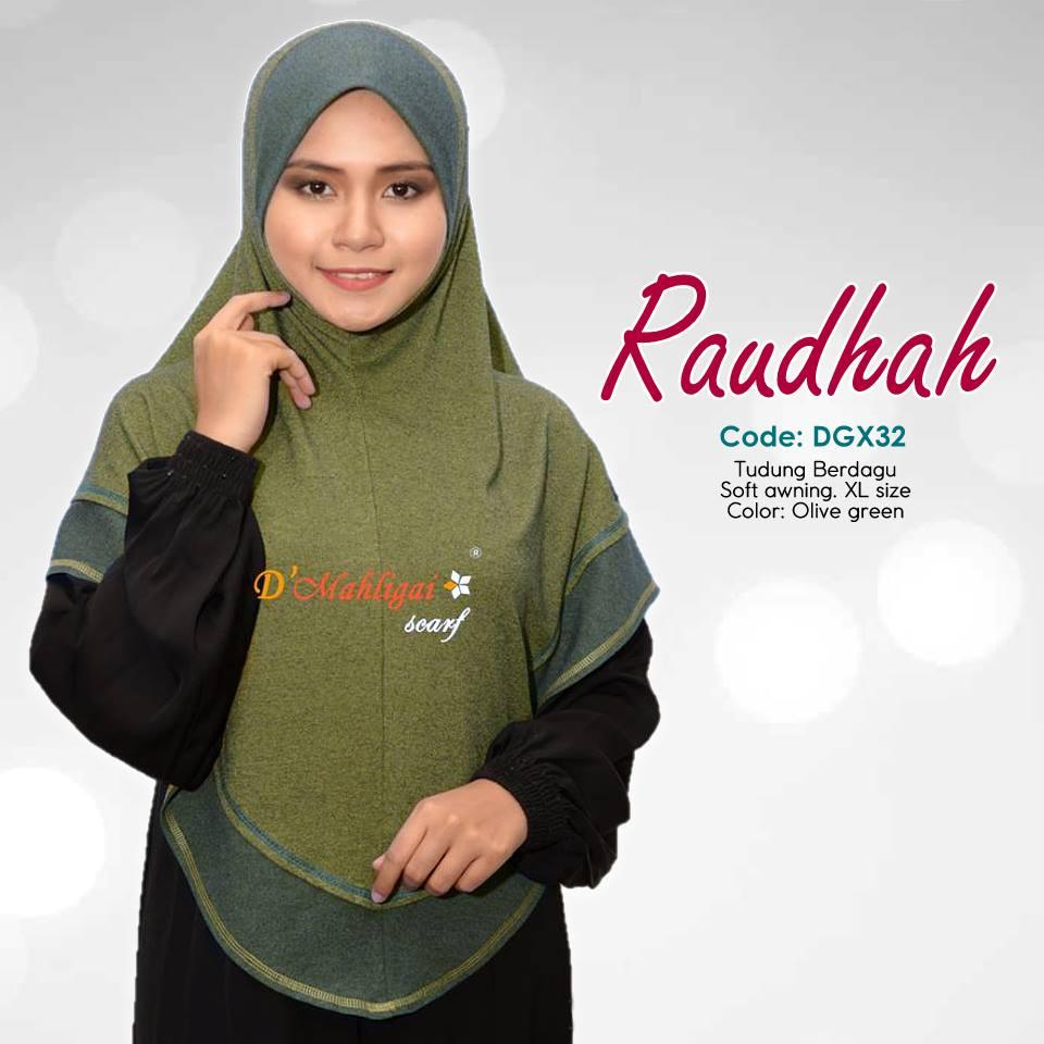 TUDUNG BERDAGU DENIM SAIZ XL RAUDAH RAUDHAH DGX32
