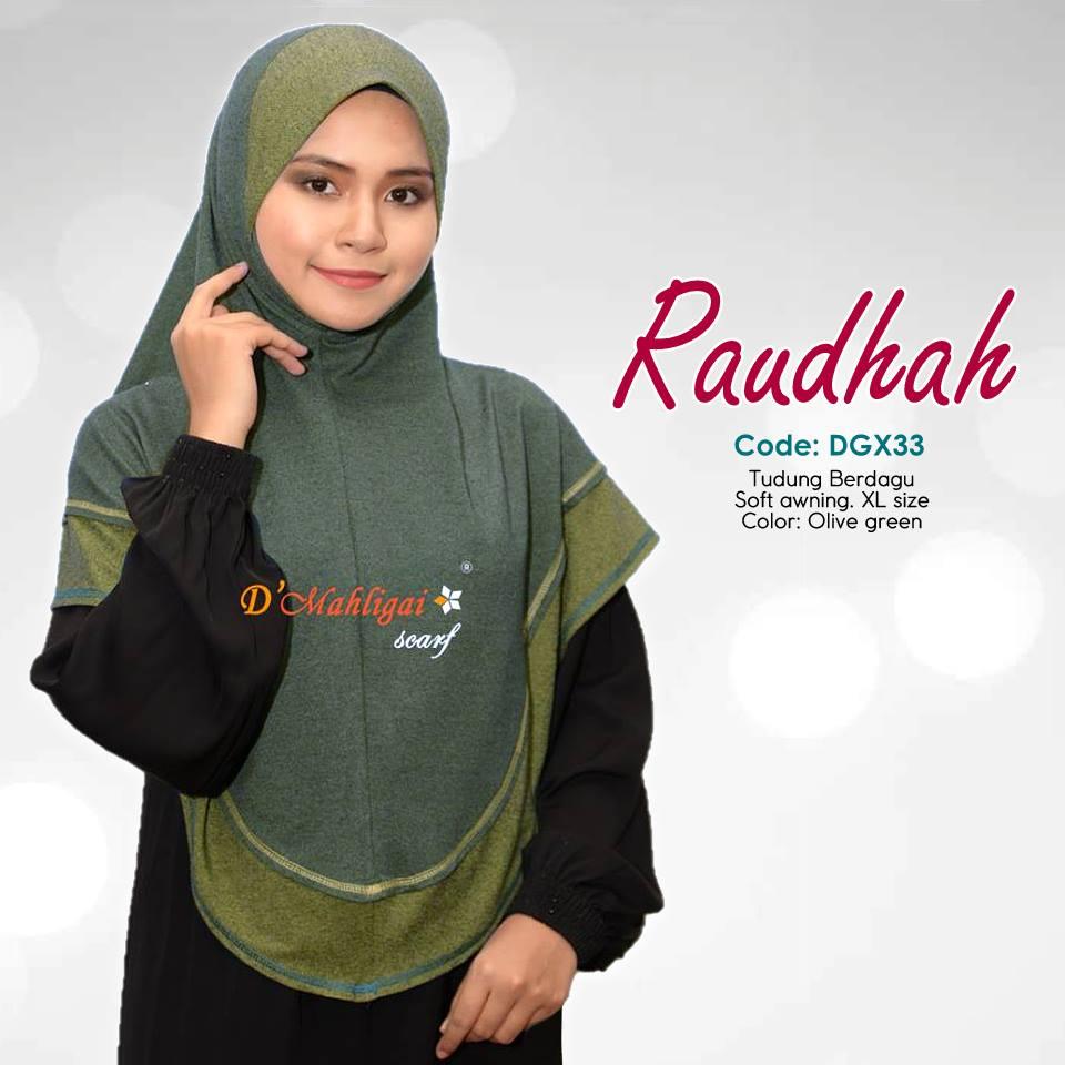 TUDUNG BERDAGU DENIM SAIZ XL RAUDAH RAUDHAH DGX33