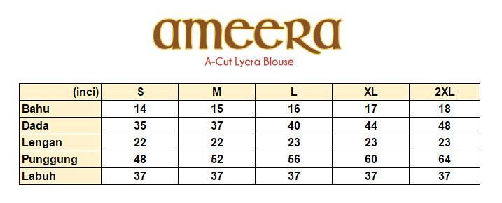 BLOUSE LYCRA AMEERA UKURAN