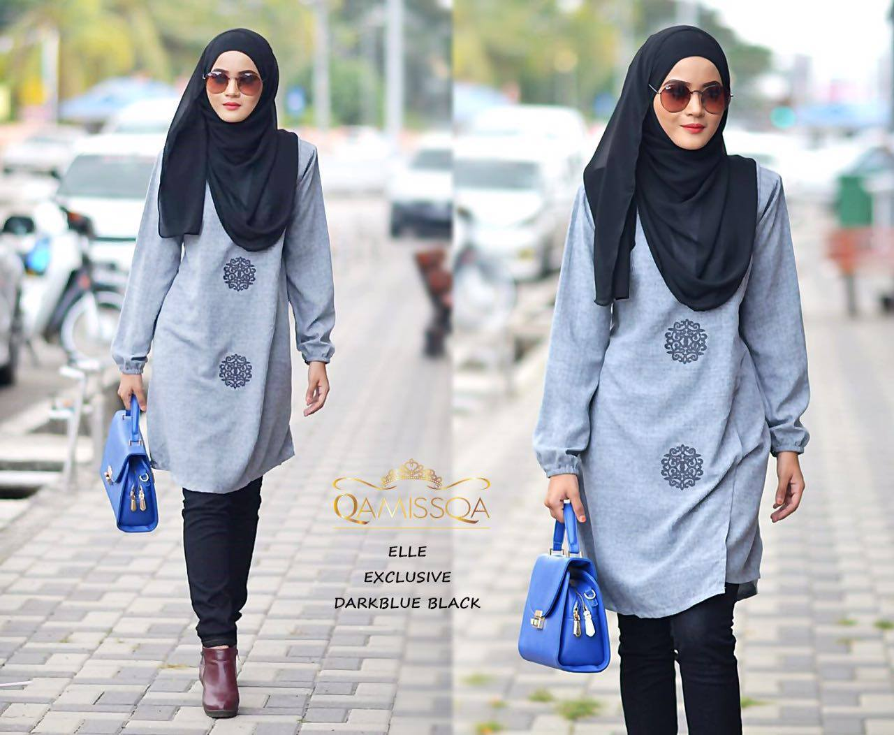 BLOUSE MUSLIMAH RAYA THAI SILK ELLE DARK BLUE BLACK