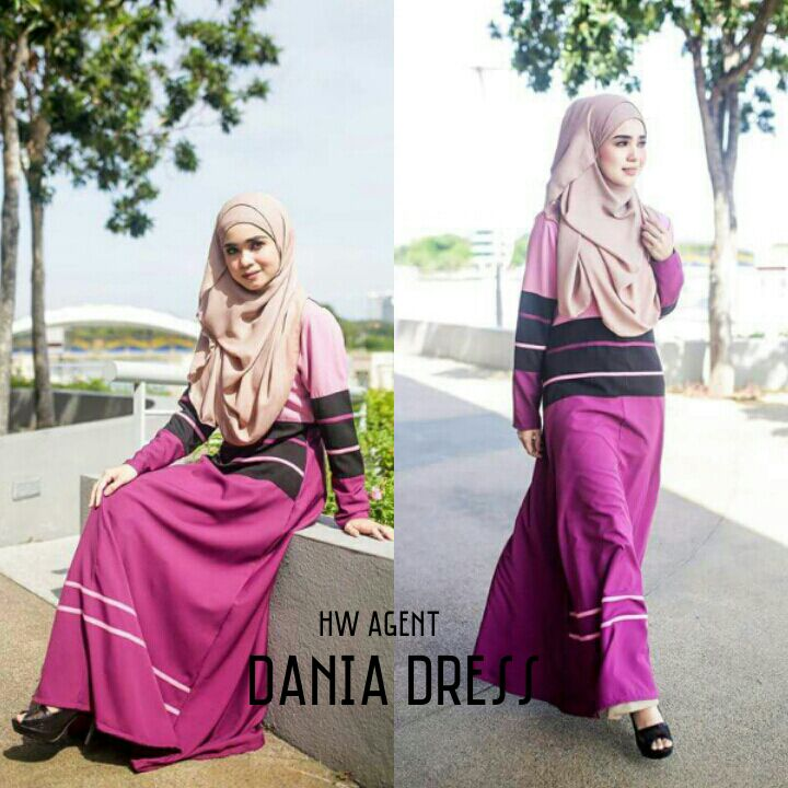 DRESS MOSS CREPE DANIA PURPLISH RED