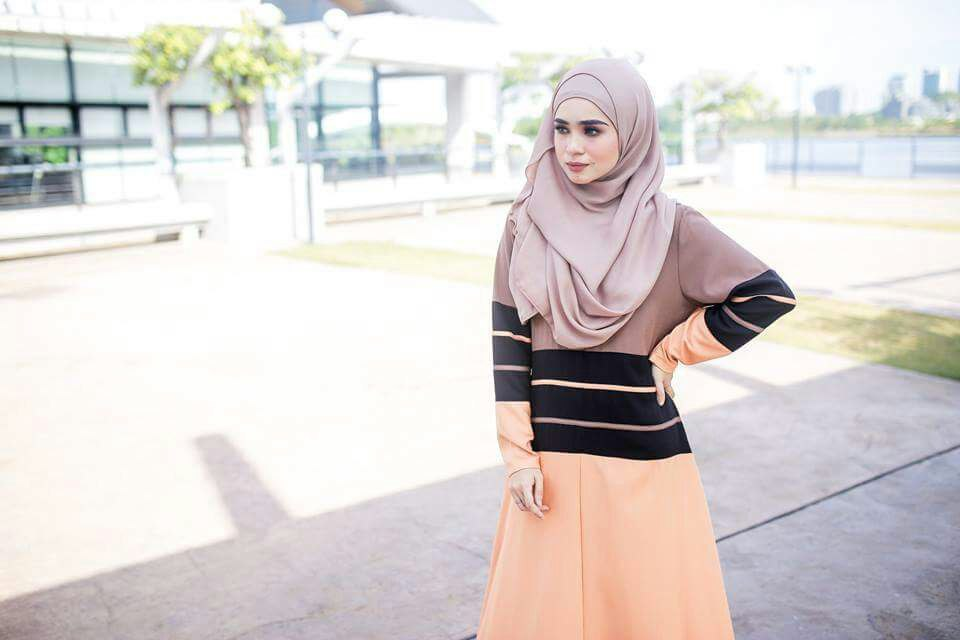 DRESS MOSS CREPE DANIA YELLOWISH BROWN