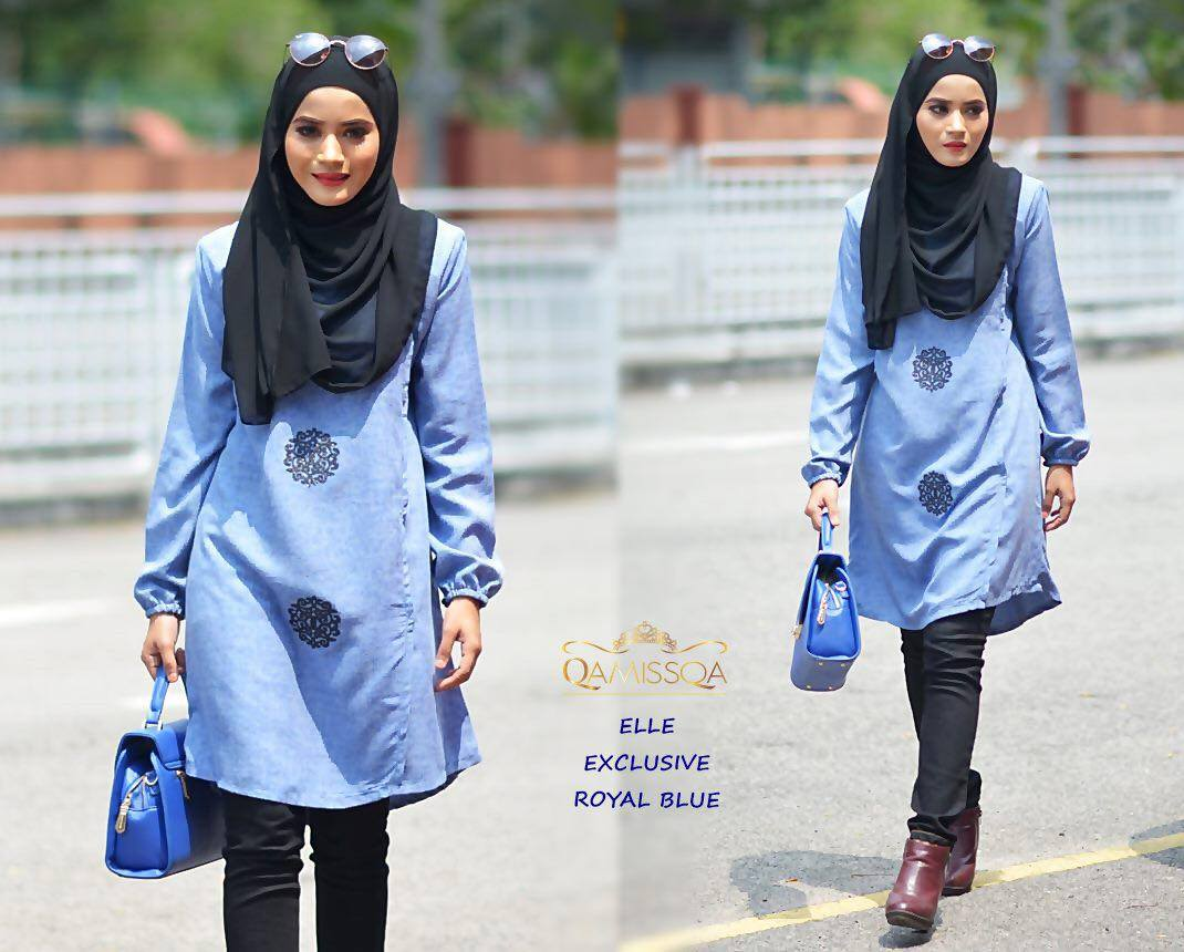 BLOUSE MUSLIMAH RAYA THAI SILK ELLE ROYAL BLUE