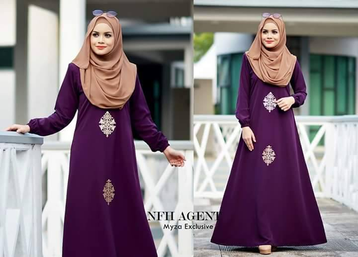 DRESS MUSLIMAH RAYA 2016 MOSS CREPE MYZA DARK PURPLE