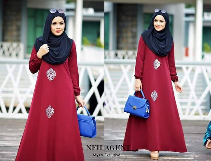DRESS MUSLIMAH RAYA 2016 MOSS CREPE MYZA ELEGANT MAROON