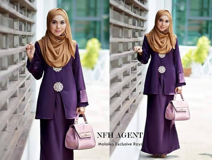 BAJU KURUNG RAYA 2016 SATIN MALAIKA DARK PURPLE