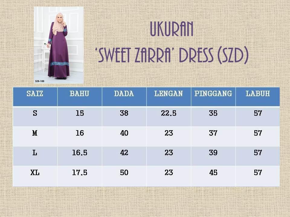 DRESS RAYA MUSLIMAH 2016 ZARRA SZD UKURAN
