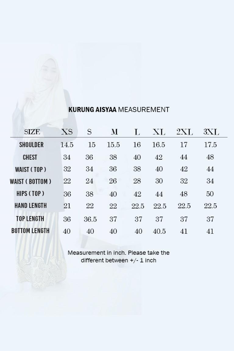 BAJU KURUNG RAYA COTTON AISYAA KC UKURAN