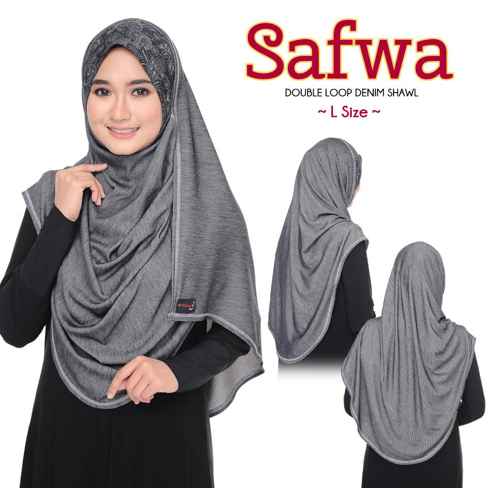 DOUBLE LOOP SHAWL RAYA DENIM SAFWA SAIZ L DWL FULL