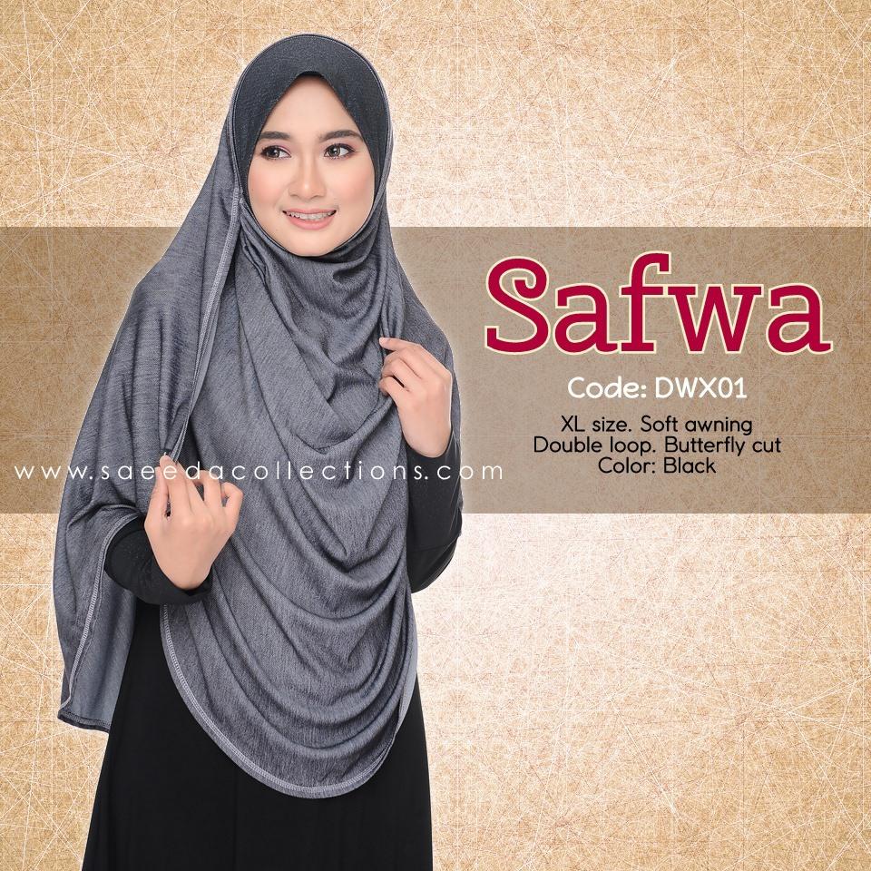 DOUBLE LOOP SHAWL RAYA DENIM SAFWA SAIZ XL DWX01
