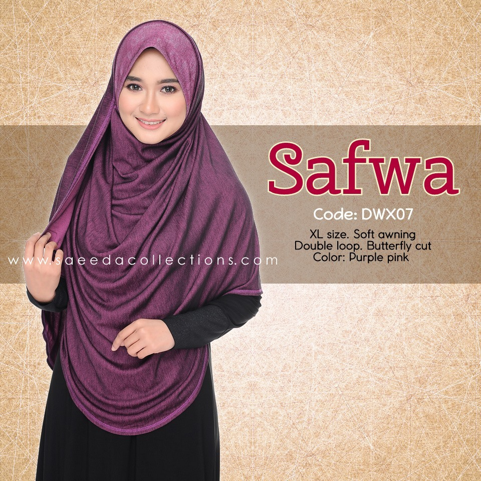 DOUBLE LOOP SHAWL RAYA DENIM SAFWA SAIZ XL DWX07