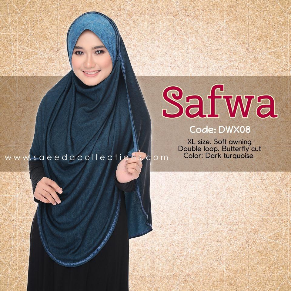 DOUBLE LOOP SHAWL RAYA DENIM SAFWA SAIZ XL DWX08