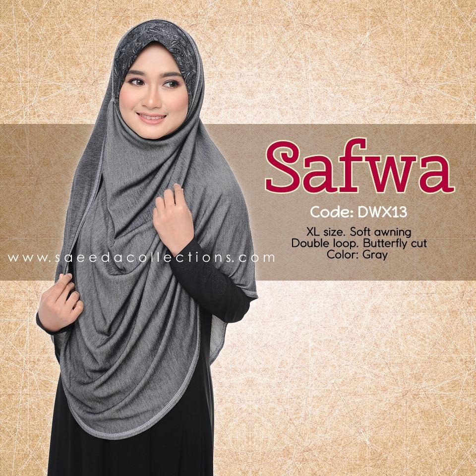 DOUBLE LOOP SHAWL RAYA DENIM SAFWA SAIZ XL DWX13