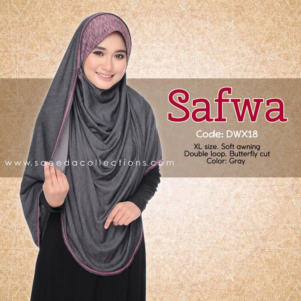 DOUBLE LOOP SHAWL RAYA DENIM SAFWA SAIZ XL DWX18