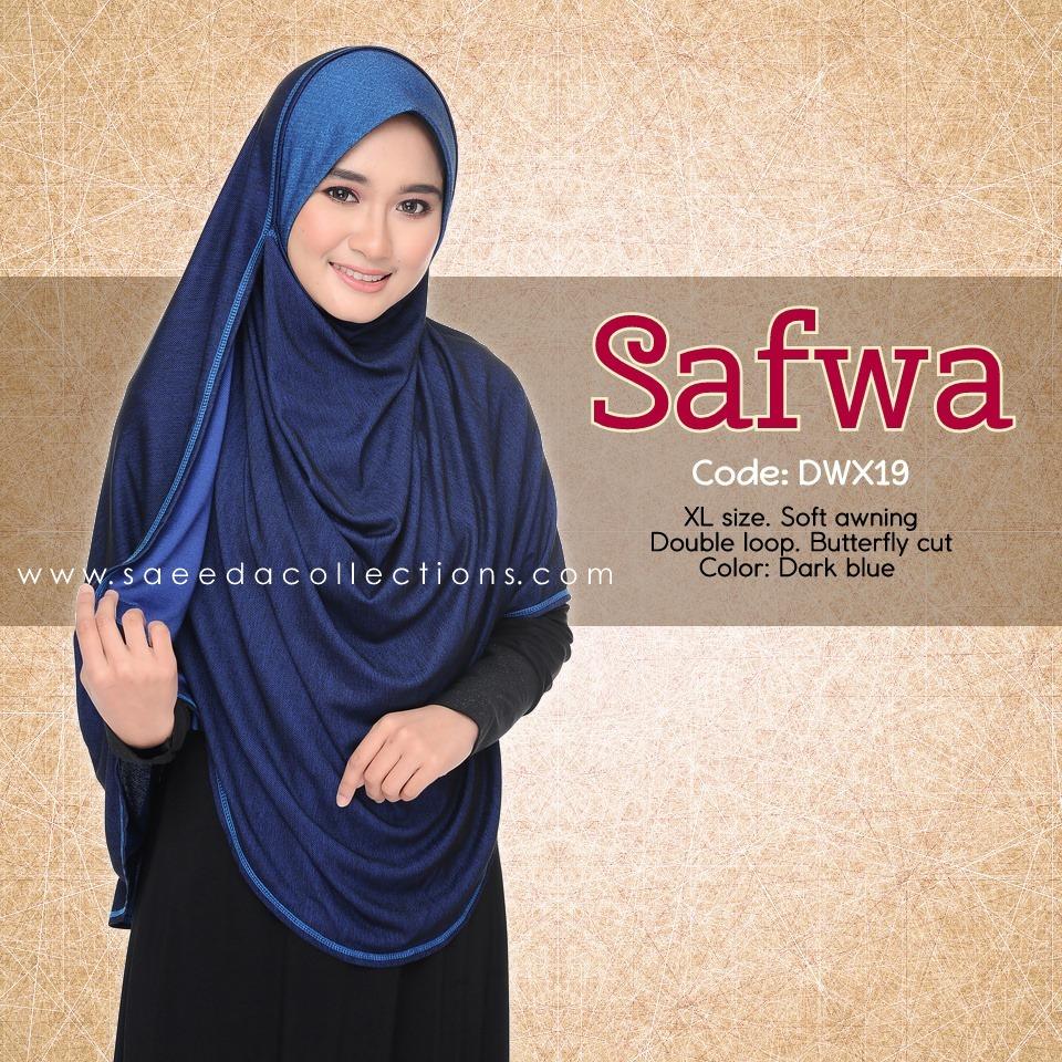 DOUBLE LOOP SHAWL RAYA DENIM SAFWA SAIZ XL DWX19