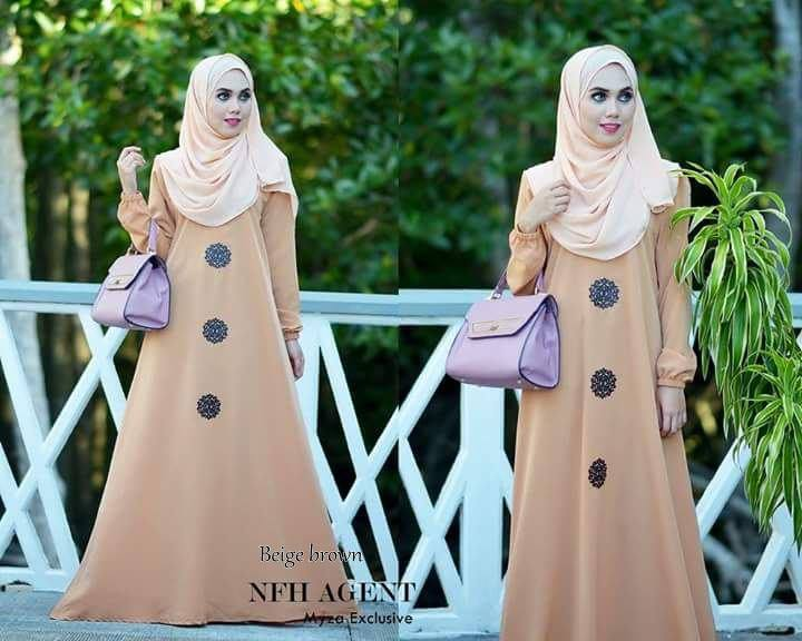 DRESS RAYA MUSLIMAH MOSS CREPE MYZA BEIGE BROWN
