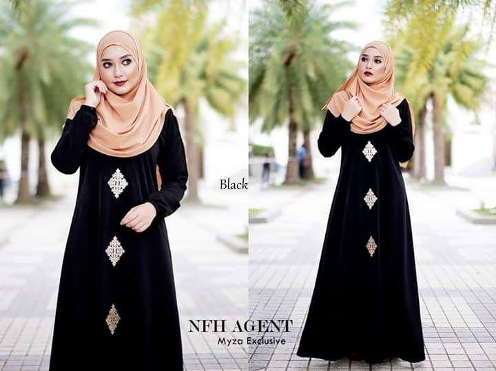 DRESS RAYA MUSLIMAH MOSS CREPE MYZA BLACK