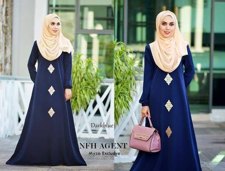 DRESS RAYA MUSLIMAH MOSS CREPE MYZA DARK BLUE