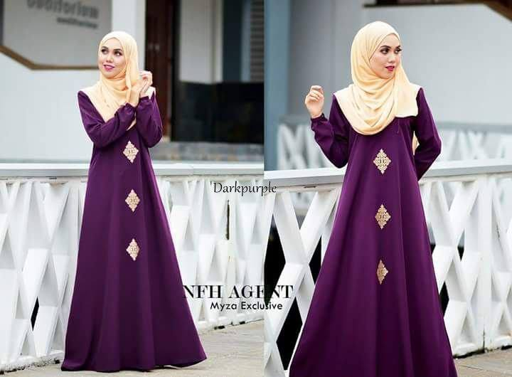 DRESS RAYA MUSLIMAH MOSS CREPE MYZA DARK PURPLE