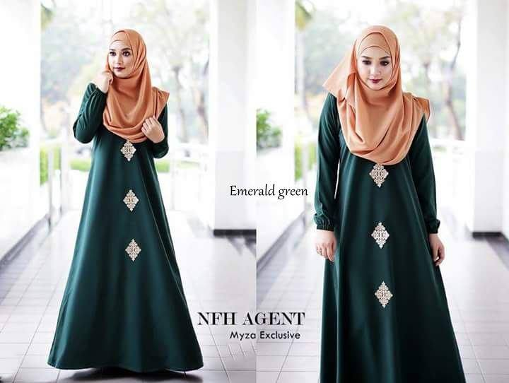 DRESS RAYA MUSLIMAH MOSS CREPE MYZA EMERALD GREEN