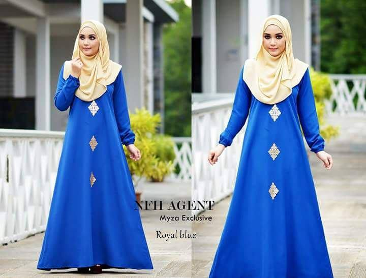 DRESS RAYA MUSLIMAH MOSS CREPE MYZA ROYAL BLUE