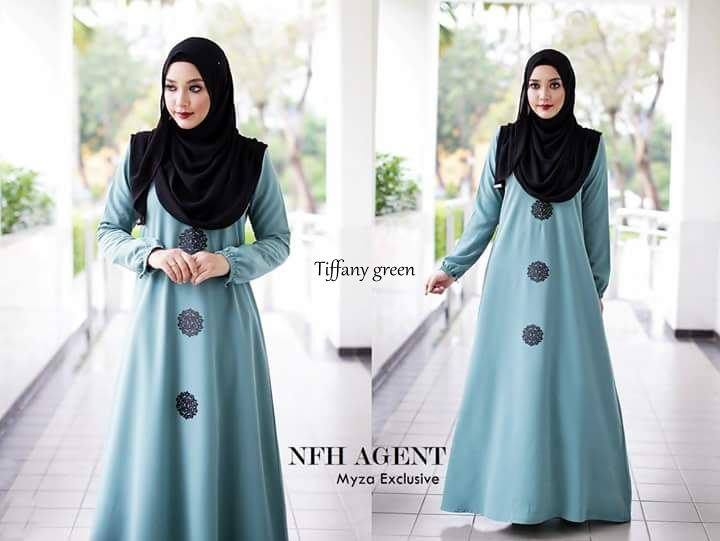 DRESS RAYA MUSLIMAH MOSS CREPE MYZA TIFFANNY GREEN