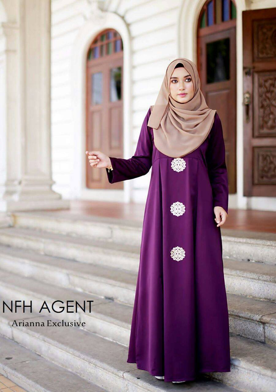 DRESS SILK RAYA 2016 ARIANNA DARK PURPLE