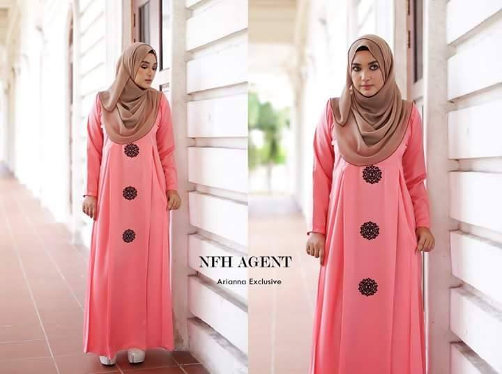 DRESS SILK RAYA 2016 ARIANNA DUSTY PEACH BROWN