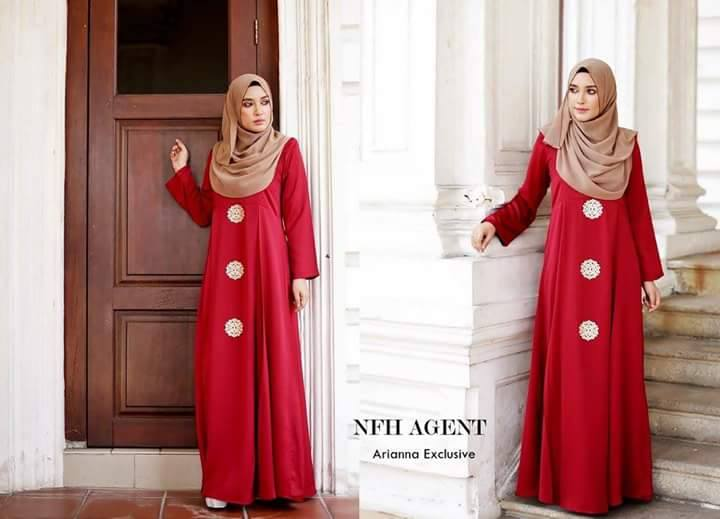 DRESS SILK RAYA 2016 ARIANNA RED MAROON