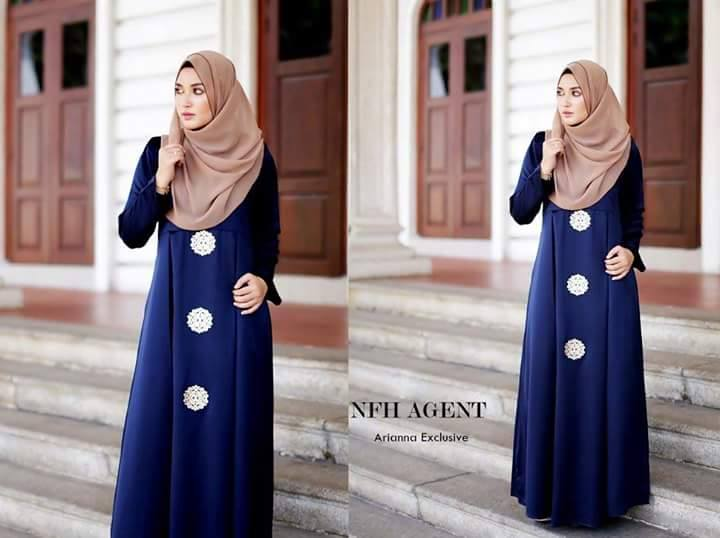 DRESS SILK RAYA 2016 ARIANNA ROYAL BLUE